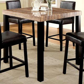 Furniture of America Dymen Contemporary Faux Marble Top Black Counter Height Dining Table