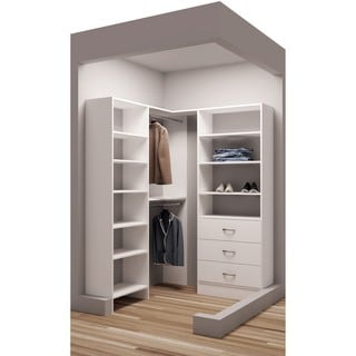TidySquares Classic White Wood 59.5-inch x 56.25-inch Corner Walk-in Closet Organizer