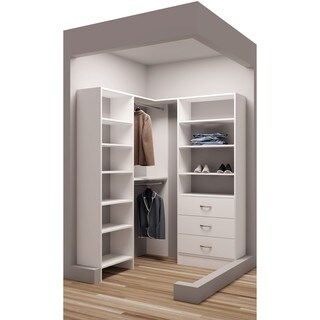 "TidySquares White Wood 59.5 x 56.25"" Walk-in Closet System"