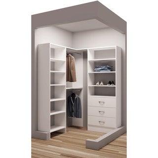 TidySquares Classic White Wood 59.5-inch x 62.25-inch Corner Walk-in Closet Organizer