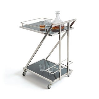 Hip Vintage Lehigh Black and Silver Stainless Steel Bar Cart