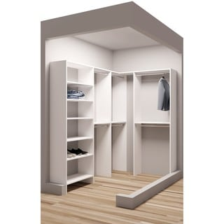 TidySquares Classic White Wood Corner Walk-in Closet Organizer Design 1
