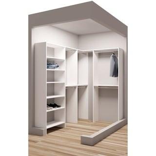 TidySquares Classic White Wood Corner Walk-in Closet Organizer Design 1