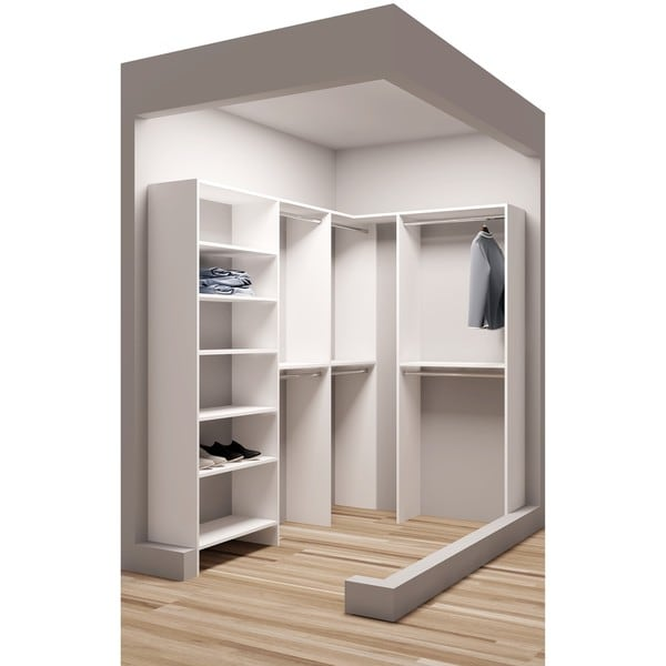 TidySquares Classic White Wood Corner Walk In Closet Organizer Design 1
