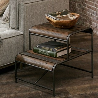 Everett Reclaimed Wood End Table with Gunmetal Frame