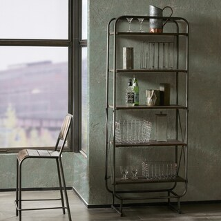 "Everett Reclaimed Wood 72"" Storage Shelf with Gunmetal Frame"