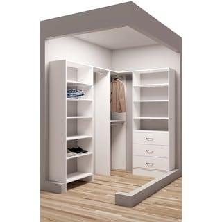 TidySquares Classic White Wood 59.5 x 81 Corner Walk-in Closet Organizer