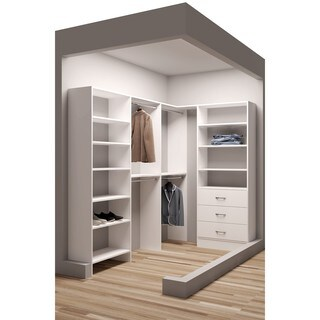 TidySquares Classic White Wood 59.5 x 93 Corner Walk-in Closet Organizer