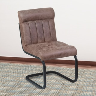 Armen Living Vancouver Mineral and Tobacco Fabric Metal Side Chair