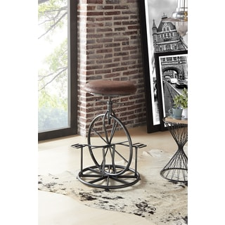 Armen Living Harlem Industrial Grey Fabric Adjustable Industrial Metal Bicycle Barstool