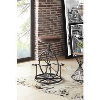 Armen Living Harlem Industrial Grey Fabric Adjustable Industrial Metal Bicycle Barstool