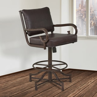 Armen Living San Diego Brown Faux Leather and Metal Swivel Barstool