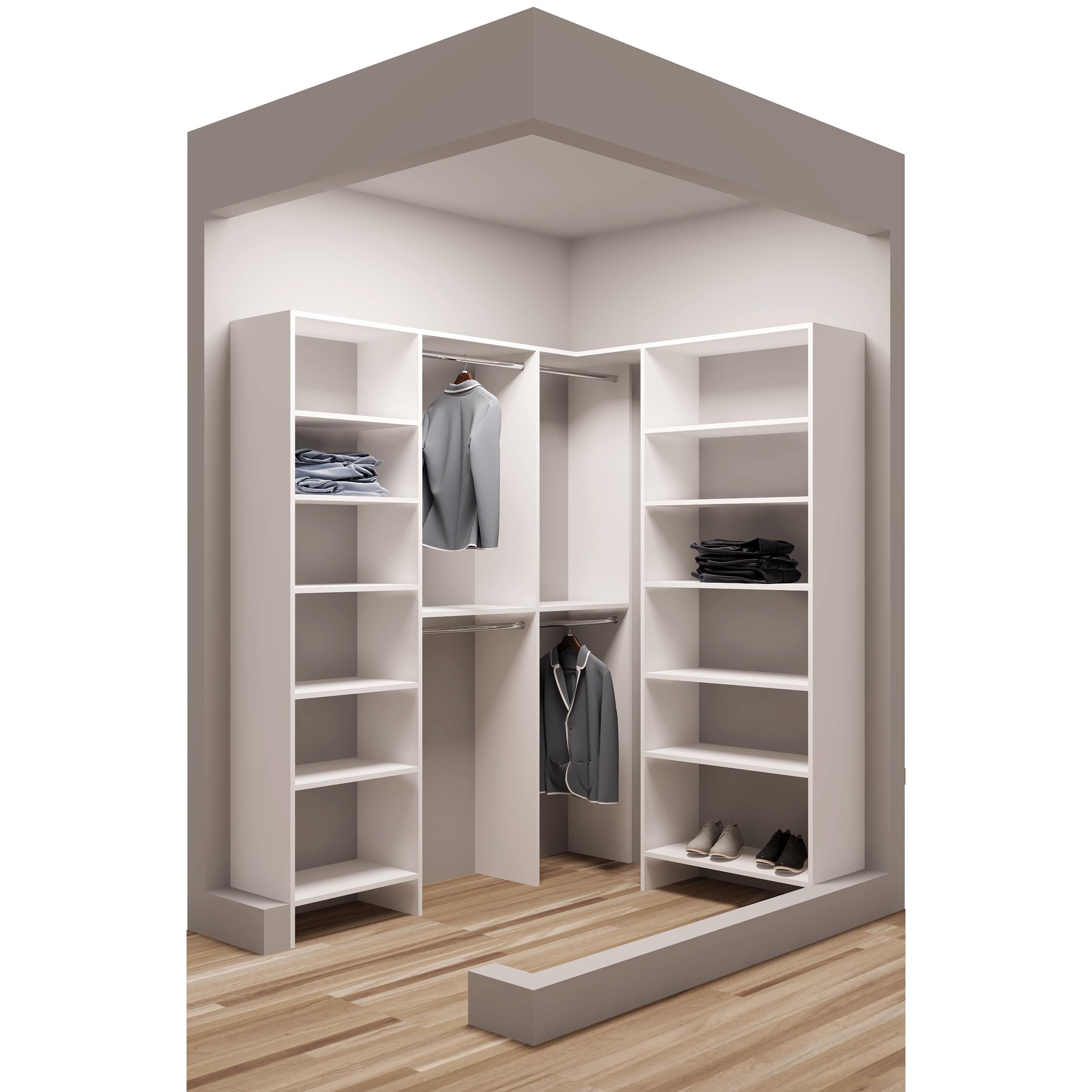TidySquares White Wood 75 x 65.5  Walk-in Closet System