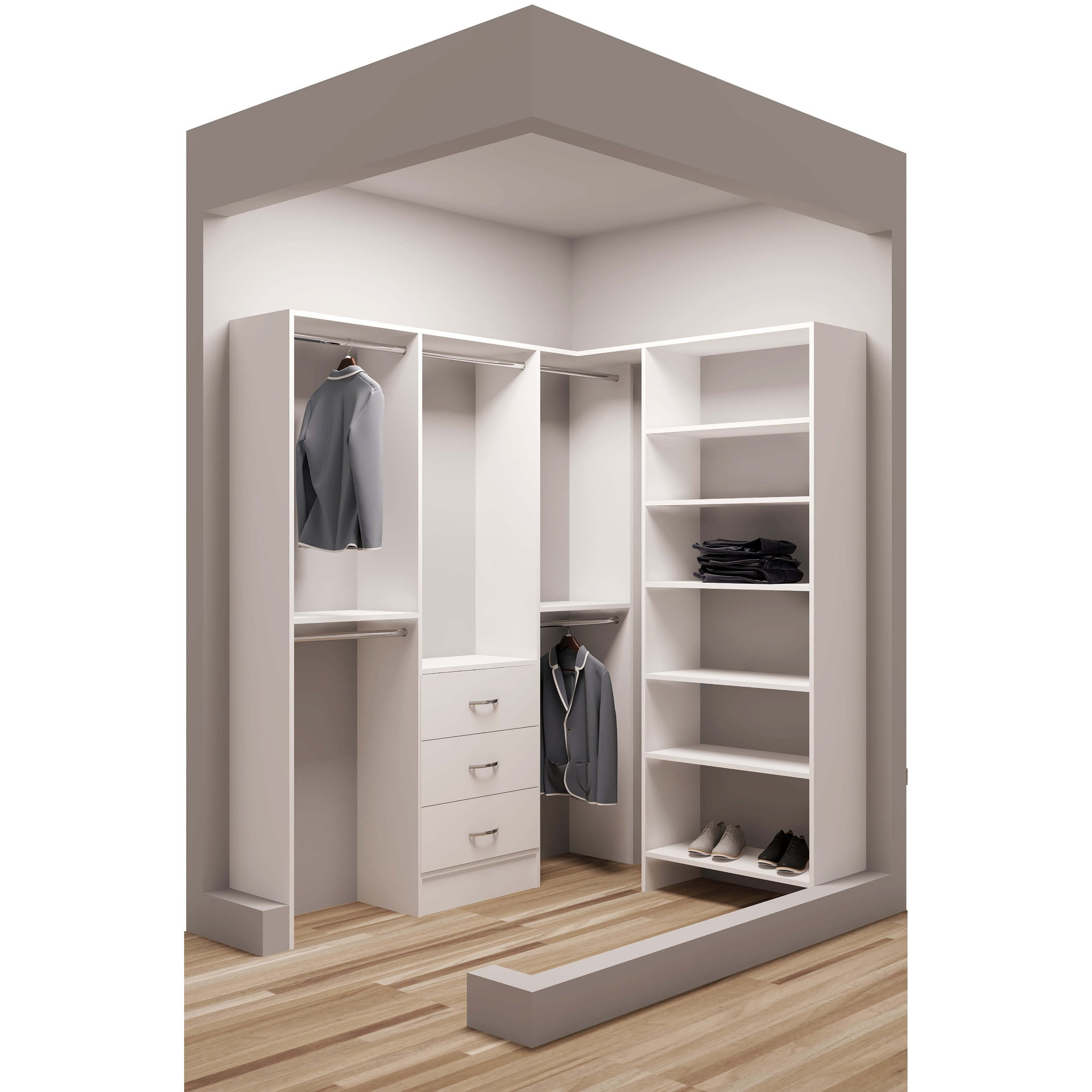Tidysquares White Wood 75 X 65 5 Walk In Closet System