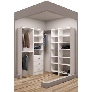 TidySquares Classic White Wood 75 x 78.25-inch-inch Corner Walk-in Closet Organizer
