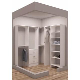 TidySquares Classic White Wood 75 x 72.25-inch Corner Walk-in Closet Organizer