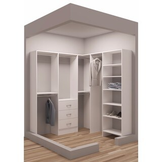 "TidySquares White Wood 75 x 72.25"" Walk-in Closet System"