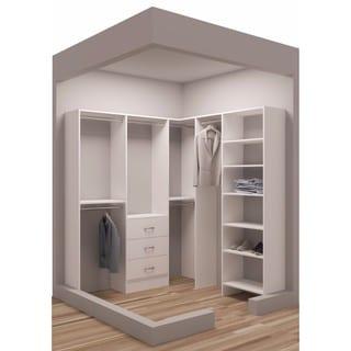 TidySquares Classic White Wood 75 x 78.25-inch Corner Walk-in Closet Organizer