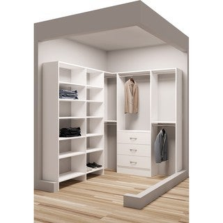 TidySquares Classic White Wood 75-inch x 84.25-inch Corner Walk-in Closet Organizer