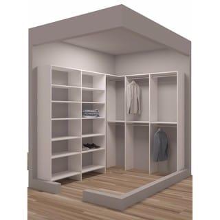 TidySquares Classic White Wood 75-inch x 96.25-inch Corner Walk-in Closet Organizer