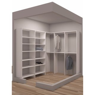 TidySquares Classic White Wood 75 Inch X 96.25 Inch Corner Walk In Closet