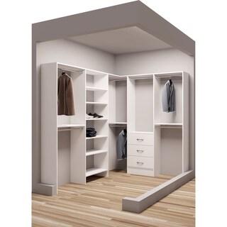TidySquares Classic White Wood 75-inch x 102.25-inch Corner Walk-in Closet Organizer