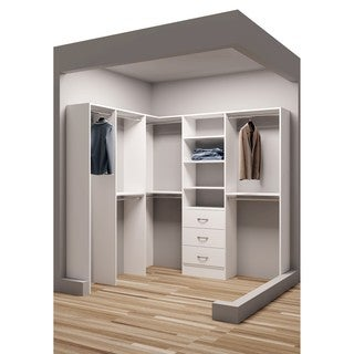 TidySquares Classic White Wood 81-inch x 78.25-inch Corner Walk-in Closet Organizer