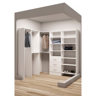 TidySquares Classic White Wood 81-inch x 72.25-inch Corner Walk-in Closet Organizer