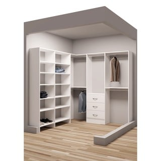 TidySquares Classic White Wood 81-inch x 90.25-inch Corner Walk-in Closet Organizer