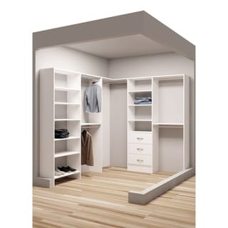 TidySquares Classic White Wood 81-inch x 96.25-inch Corner Walk-in Closet Organizer