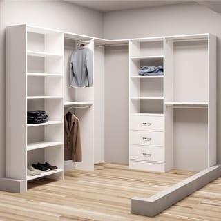 TidySquares Classic White Wood 81-inch x 102.25-inch Corner Walk-in Closet Organizer