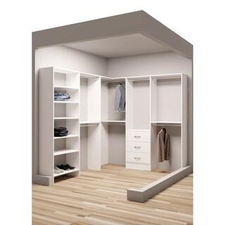 TidySquares Classic White Wood 81 x 96.25 Corner Walk-in Closet Organizer
