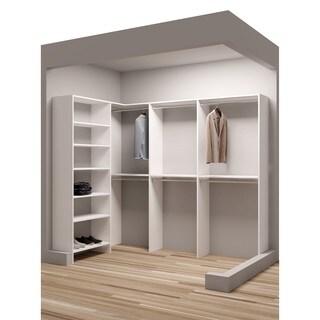 TidySquares Classic White Wood 93-inch x 65.5-inch Corner Walk-in Closet Organizer