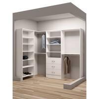 TidySquares Classic White Wood 93-inch x 59.5-inch Corner Walk-in Closet Organizer