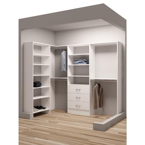 tidysquares classic white wood 93 inch x 59 5 inch corner walk in closet organizer free. Black Bedroom Furniture Sets. Home Design Ideas