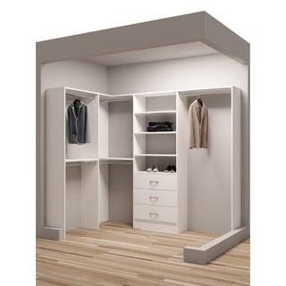 TidySquares Classic White Wood 93 x 59.5 Corner Walk-in Closet Organizer