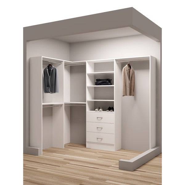 TidySquares Classic White Wood 93 X 65.5 Corner Walk In Closet Organizer