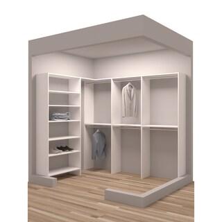 TidySquares Classic White Wood 93 x 67 Corner Walk-in Closet Organizer