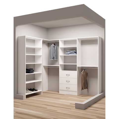 "TidySquares White Wood 67 x 93"" Walk-in Closet System"