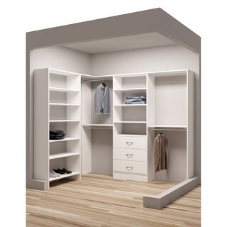 TidySquares Classic White Wood 93 x 73 Corner Walk-in Closet Organizer