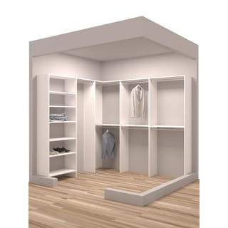 TidySquares Classic White Wood 93 x 84.25 Corner Walk-in Closet Organizer
