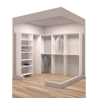 TidySquares Classic White Wood 93 x 84.25 Corner Walk-in Closet Organizer