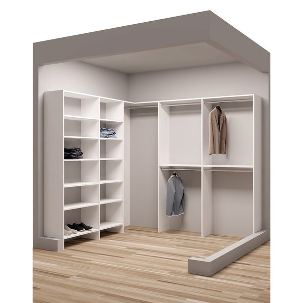 Shop Tidysquares White Wood 93 X 9025 Walk In Closet System Free