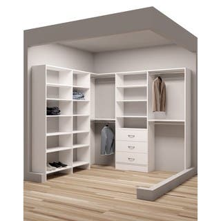 TidySquares Classic White Wood 93 X 8425 Corner Walk In Closet Organizer