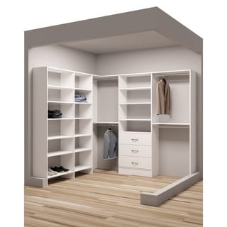 TidySquares Classic White Wood 93 X 84.25 Corner Walk In Closet Organizer