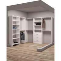TidySquares Classic White Wood 93-inch x 96.25-inch Corner Walk-in Closet Organizer