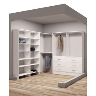 TidySquares White Wood Corner Organizer for Walk-in Closet (Design 3)