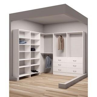 TidySquares Classic White Wood 93-inch x 102.25-inch Corner Walk-in Closet Organizer