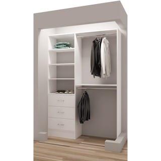 TidySquares Classic White Wood 50.25-inch Reach-in Closet Organizer