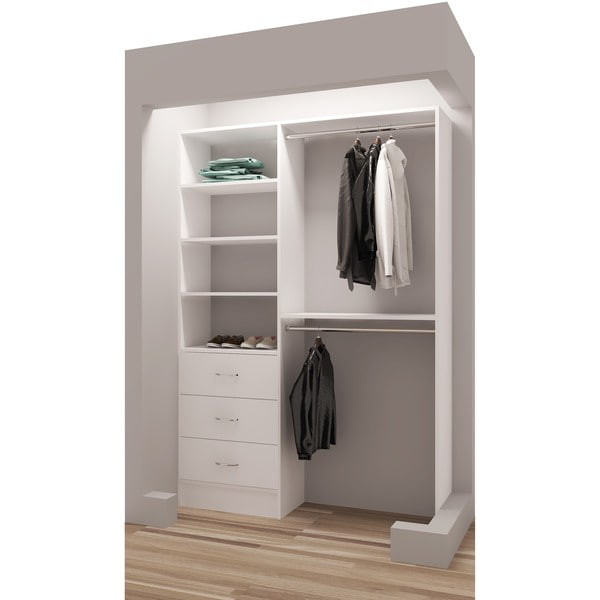 TidySquares White Wood 56.25-inch Reach-in Closet Organizer